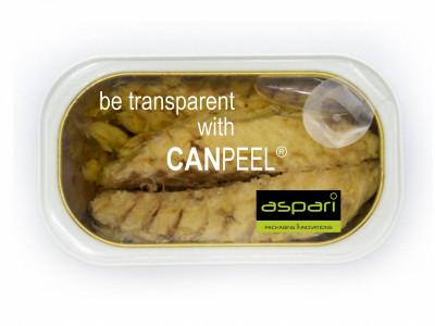 Lata de comida transparente